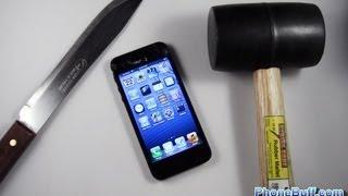 iPhone 5 bıçak, çekiç ve düşme testi