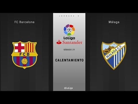 Calentamiento FC Barcelona vs Málaga