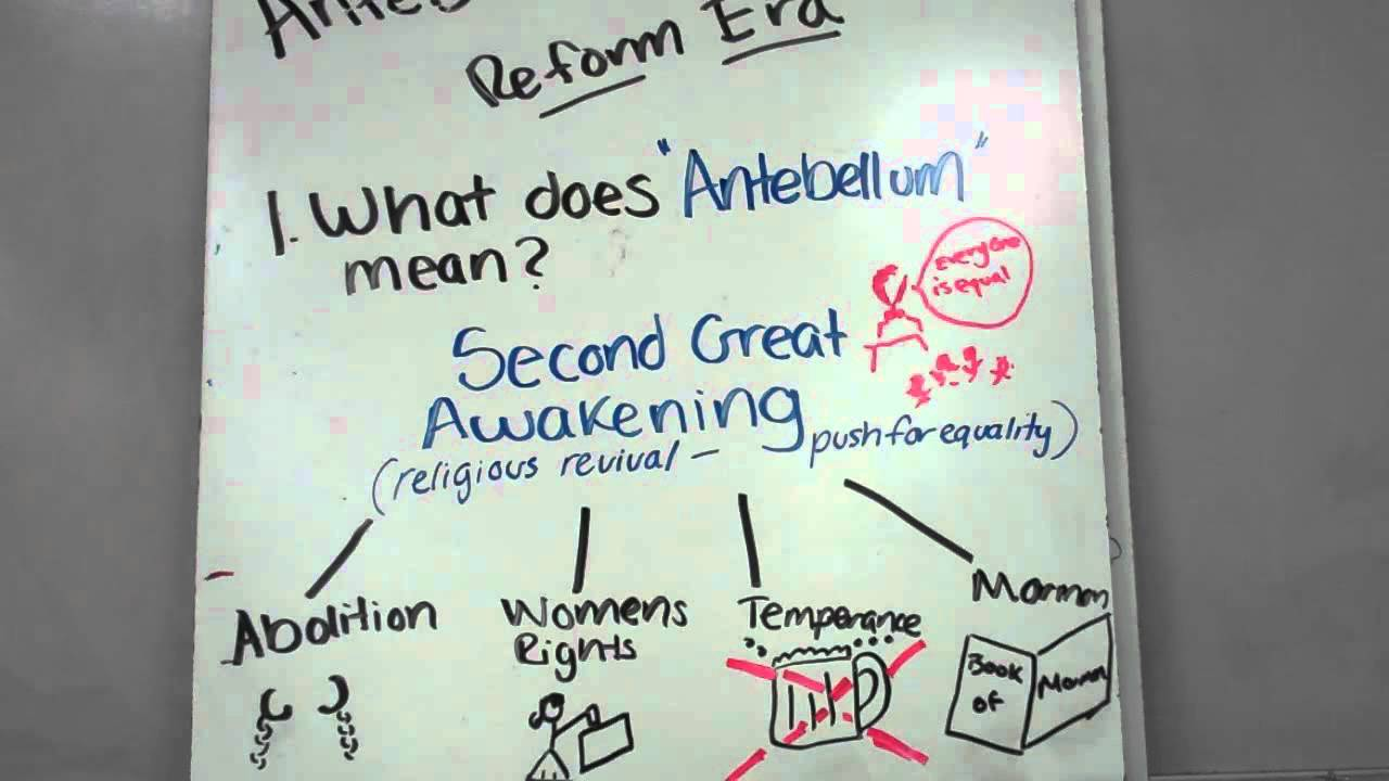antebellum reform movements essay Inspired by the second great awakening and transcendentalism, americans  started a number of social reform movements in the antebellum era.