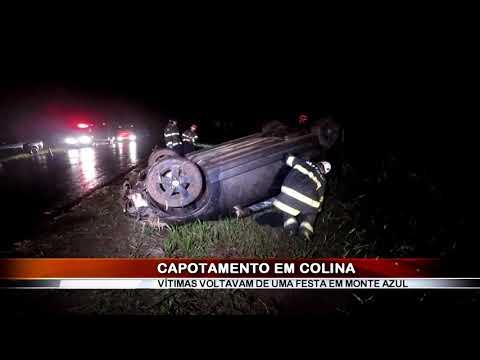 20/02/2019 - Capotamento é registrado na Vicinal Renê Vaz de Almeida em Colina