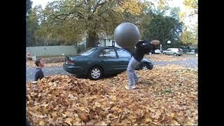 Surprise Leaf Exercise Ball Attack Prank
