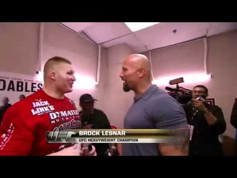 UFC Brock Lesnar gets a suprise apperence from The Rock