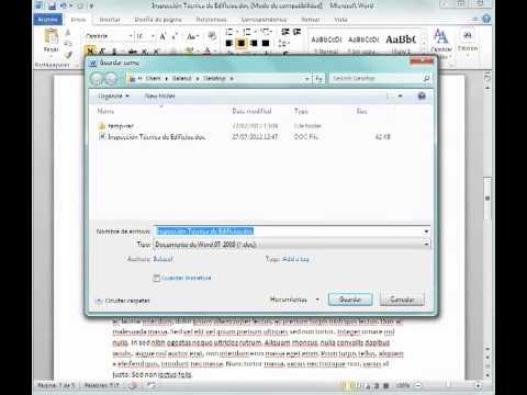 Como guardar un documento de word 2003 a 2007