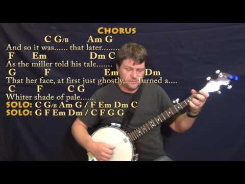 Whiter Shade of Pale (Procol Harum) Banjo Cover Lesson in C with Chords/Lyrics