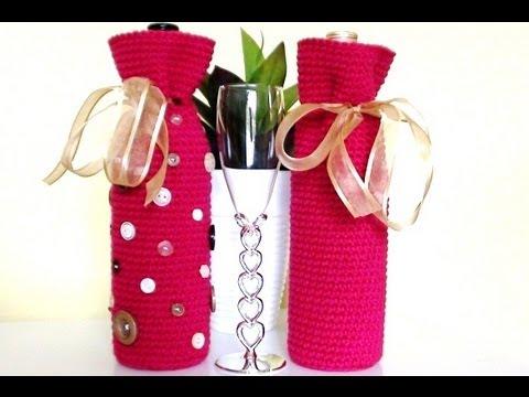 Free Crochet Pattern For Wine Bag : Crochet Wine Bottle Cover - Crochet Wine Bottle Bag - YouTube