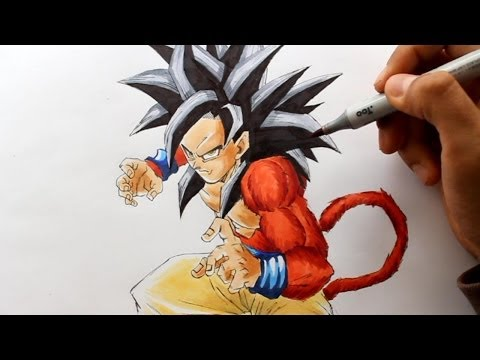 Wie zeichnet man Son Goku SSJ4 [Dragonball GT] zeichen tutorial