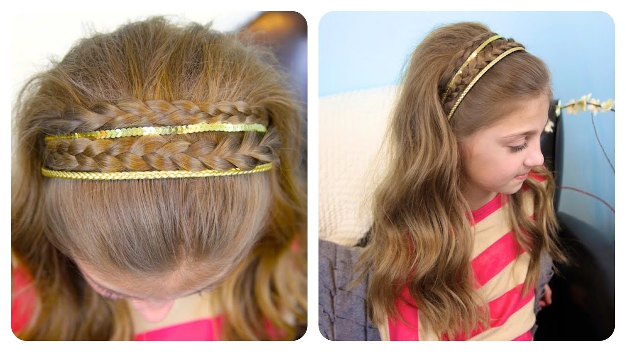 Double Braid Sparkly Headband Cute Girls Hairstyles - YouTube