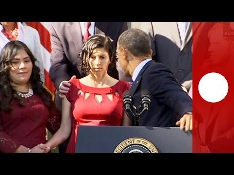 Video: Obama catches fainting pregnant woman during healthcare announcement