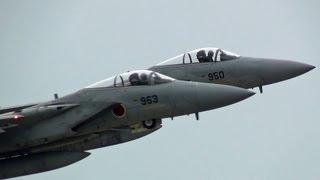 F15イーグル8機による大迫力編隊飛行&落下傘降下 小松基地航空祭