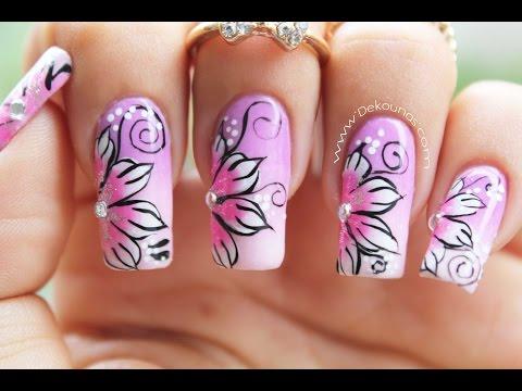 Decoración de uñas flores pinceladas - one stroke flower nail art