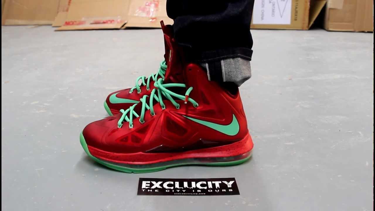 Displaying Images For - Lebron 10 Christmas On Feet   Lebron 10 Christmas On Feet