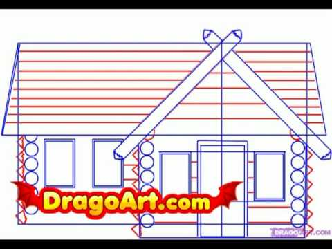 How to draw a log cabin step by step youtube for How to draw a log cabin step by step