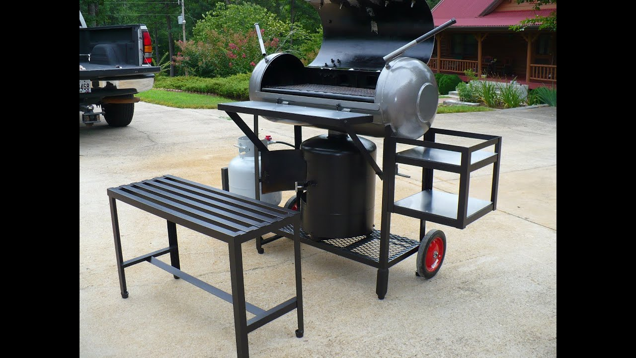 Bbq Smoker Reverse Flow W Propane Burner Youtube