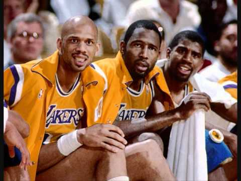 Greatest NBA Teams - The Lakers - 1980, 1982, 1985, 1987 & 1988 Champions, A look back at the great Lakers teams of the 1980s Coach Pat Riley Kareem Abdul-Jabbar Magic Johnson James Worthy Kurt Rambis Michael Cooper Byron Scott