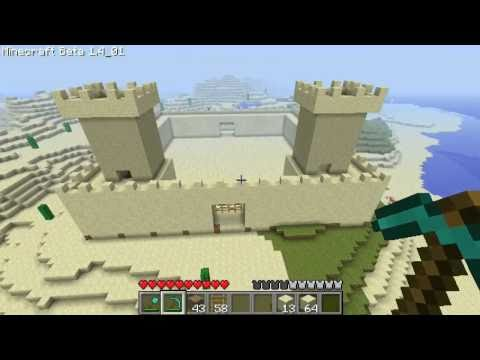 Minecraft: Building a Sandcastle Part 2 - The Two Towers!