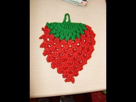 Tutorial de tejido en crochet agarradera con forma de Fresa 1 de 3