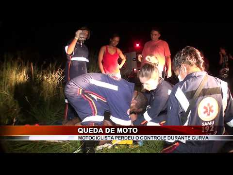 08/04/2018 - Motociclista fica ferido em queda de moto na Rodovia Faria Lima em Colômbia