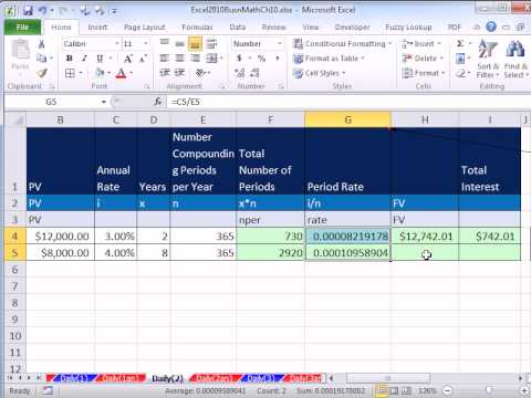 Excel 2010 Business Math 82: Calculating Interest & Future Value For Bank Daily Interest Accounts
