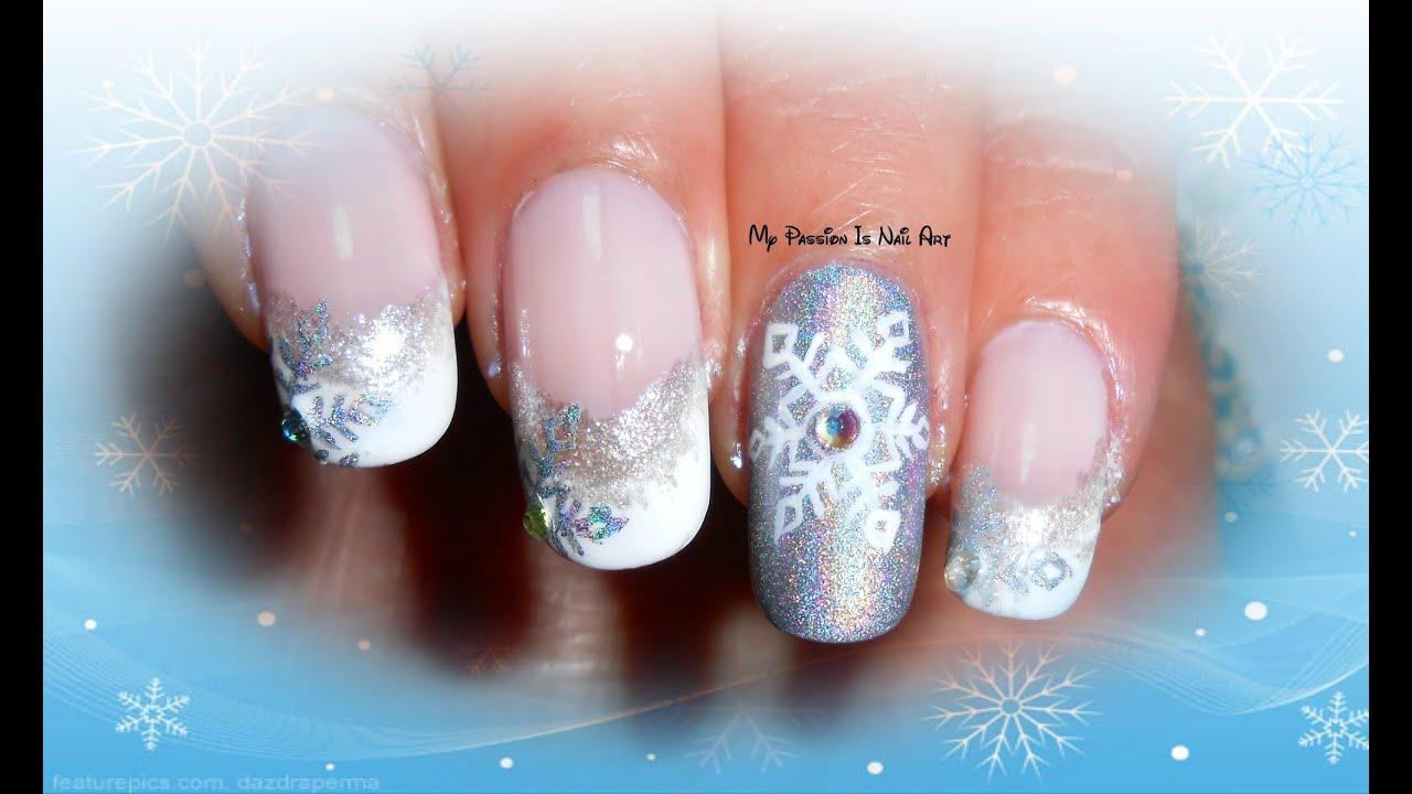 Elegant Winter Holo Snowflakes nails-tutorial nail art ...