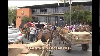 Carroceiros protestam contra lei que acabaria com a atividade em BH