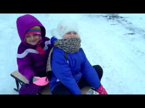 Winter Fun - Motorized Bicycle 66 cc pulling sleds with kids