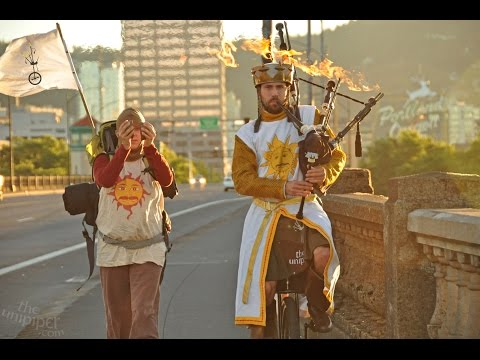 Monty Python and the Holy Grail Performed on Flaming Bagpipes and Unicycle in Portland, OR