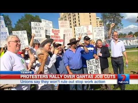 CH7: Rallies over Qantas job cuts