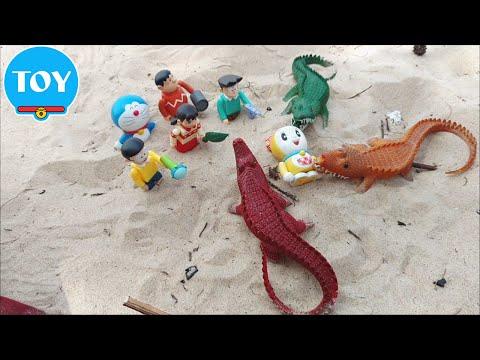 Cùng Nobita đi chơi biển nghịch cát bắt cá sấu - hoạt hình doremon chế đồ chơi trẻ em