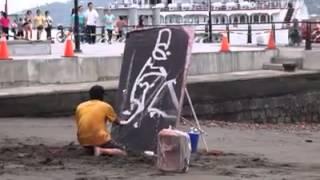 Impresionante artista callejera