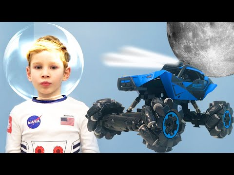 Super Lev Play with New Space Power Wheels Car and Trip to the Moon on a rocket