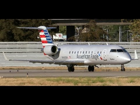 HD RARE American Eagle New Livery CRJ-100ER N492SW Takeoff from San Jose International Airport