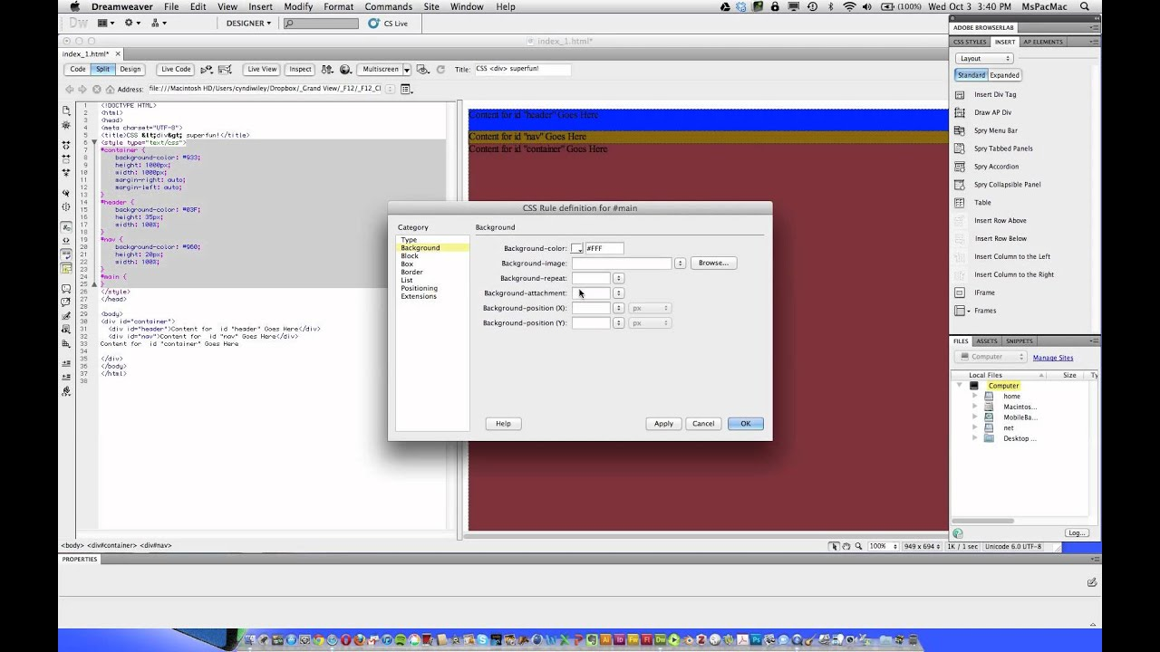 Dreamweaver cs5 5 tutorial css layout with div tags youtube - Css div layout ...