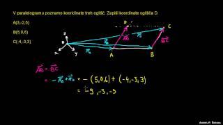 Določanje koordinate v paralelogramu – prostor