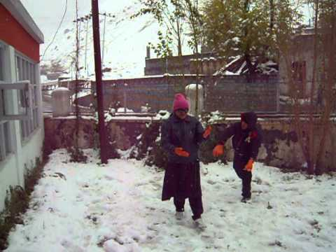Playing with snow in Kaza in Himachal Pradesh.