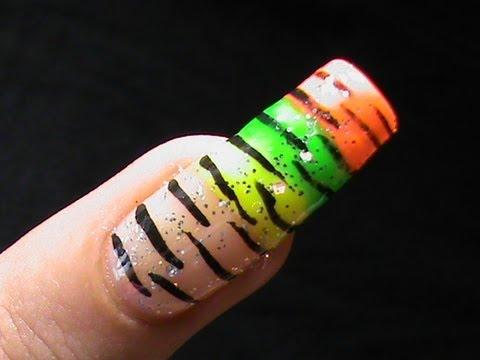 how to do zebra stripes  colorful nail art designs