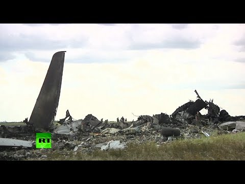 Wreckage of Il-76 military transport plane shot down in Lugansk