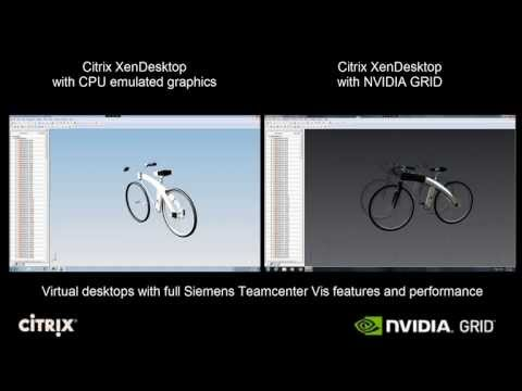 XenDesktop Siemens Teamcenter Visualization CPU only vs. NVIDIA GRID K2