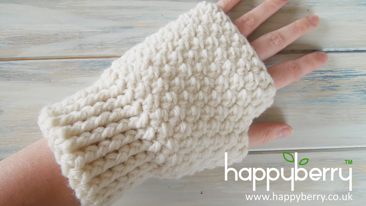Youtube How To Crochet : Crochet) How To - Crochet Fingerless Mitten Gloves - YouTube
