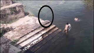 Ghost Caught On Camera Jumping In POND!! Ghost Caught Near