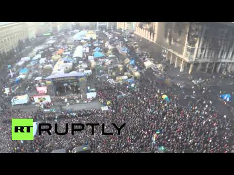 "Ukraine: Drone's eye view of a crowded Maidan after ""crisis"" deal signed"