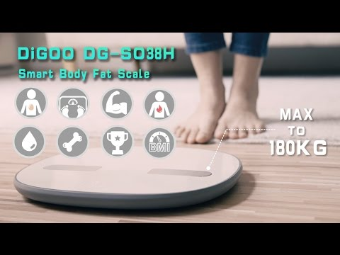 Digoo DG-SO38H 180Kg Smart LED Bluetooth Large Body Fat Scale Composition Monitor Get Fit App