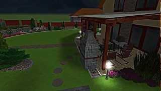 3D prezentácia záhrady - večer