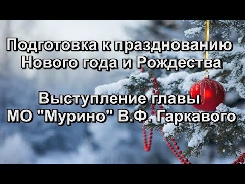 """Подготовка к празднованию Нового года и Рождества. Выступление главы МО """"Мурино"""" В.Ф. Гаркавого..."""