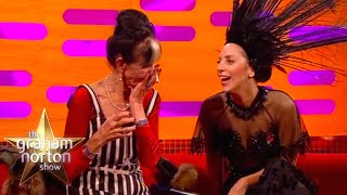 Lady Gaga Fixes Dot Cotton's Dress Live on The Graham Norton Show