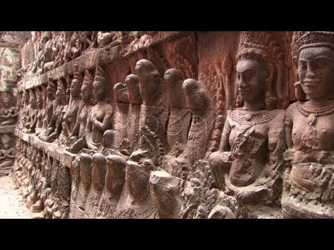 Bas Reliefs Sculpture RUINED TEMPLE Angkor Wat Cambodia Gods Asia Art Hindu . Stock Footage