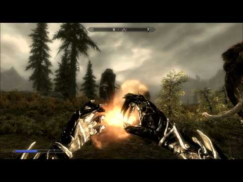 Skyrim High Level Mage Gameplay - Dragons, Giants, Updated Equipment and Perks