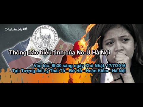 Thông báo biểu tình của No-U Hà Nội - 8h30 sáng ngày Chủ Nhật, 17/7/2016