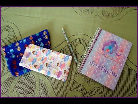 Como fazer estojo sem costura, caderno e lápis decorado