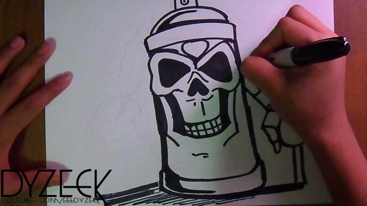 500Нарисованный череп по граффити