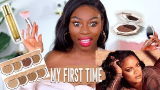 MY FIRST TIME TRYING BRONZER DO I REALLY NEED IT?? NEW FENTY BEAUTY SUNSTALKER  & MORE